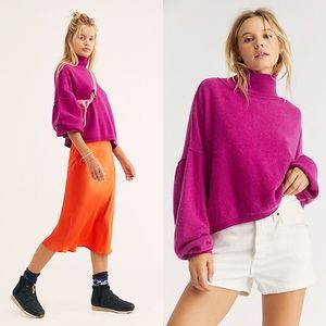 Free People Fuchsia Turtleneck Cashmere Sweater